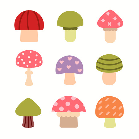 amanita: Bright different types of mushrooms set. Card in cartoon style o