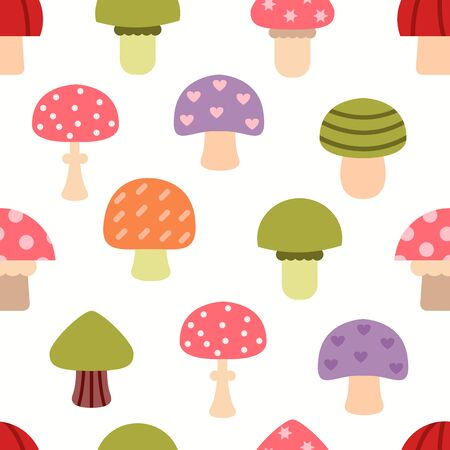 edibles: Bright different types of mushrooms set. Card in cartoon style on white background.