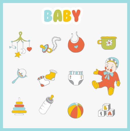Baby icons set. Cute  things on light background