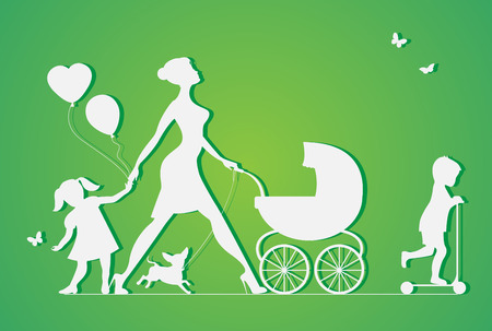 Woman with two children and dogs. Super mother