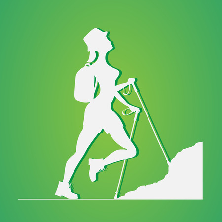 rockclimber: Woman traveling in the mountains.Tourist, rock-climber with a backpack. Orientation to districts