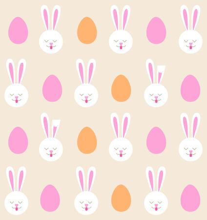 Nahtlose Muster von Osterhasen und farbigen Eiern