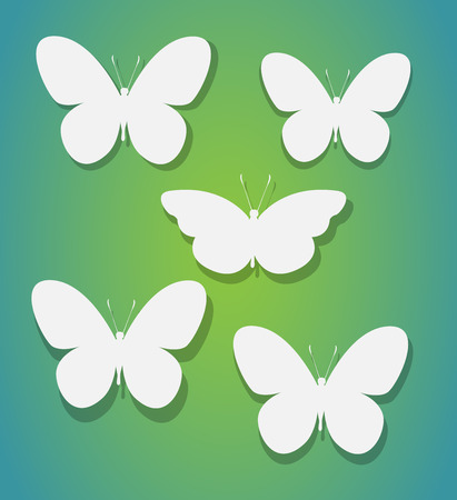 postal card: Set of butterflies. Vector silhouette. Paper art and craft style