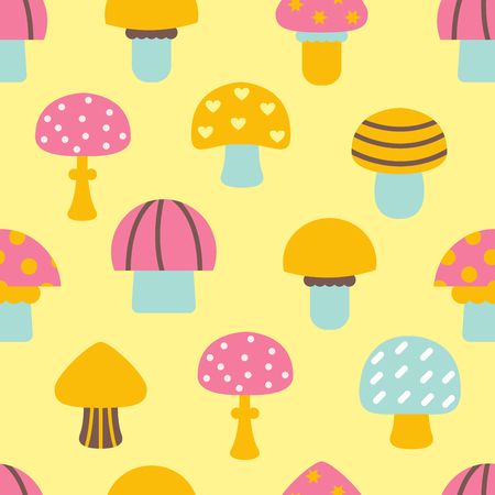 Bright different types of mushrooms set. Card in cartoon style on white background