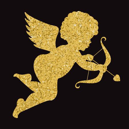 brushstroke: Golden angel silhouette Illustration