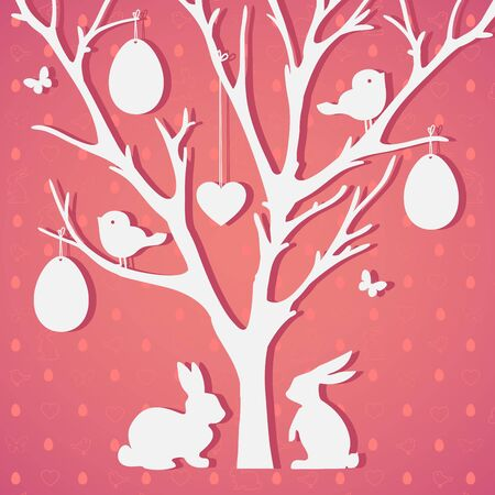 arbol de pascua: Easter tree with eggs and rabbits.