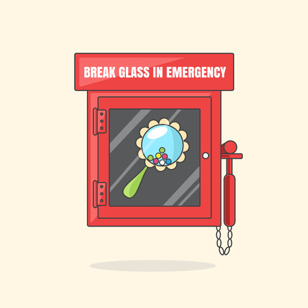 breakable: Red emergency box with in case of emergency breakable glass. Box