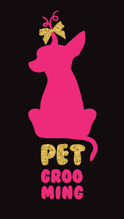 Logo for dog hair salon with vector dog silhouette. Pet grooming salon. Illustration