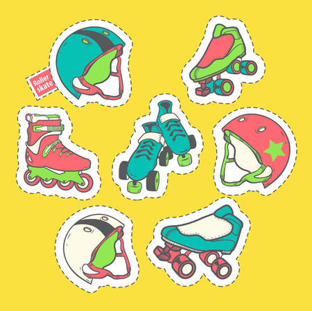 Fashion patch badges with element on the theme of roller skating
