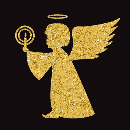 hallow: Golden vector angel silhouette on black background