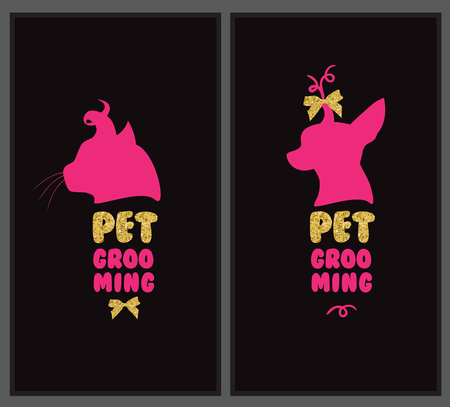 cat grooming: Logo for pet hair salon with animal silhouette, gold bows and gold letters