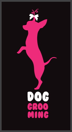 Logo for dog hair salon with pink dog silhouette, gold bow and gold letters