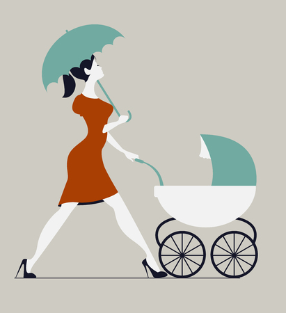 babysitting: Young woman walking with stroller under rain. Woman walking with