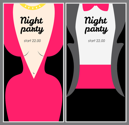 Retro party poster with woman in pink evening dress and man in t
