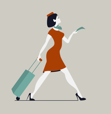 Stewardess with luggage. Woman with baggage and ticket