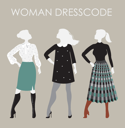 Woman dresscode vector illustration. Women in different outfits
