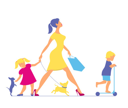 Woman with two children and dogs. Super mother doing shopping an Illustration