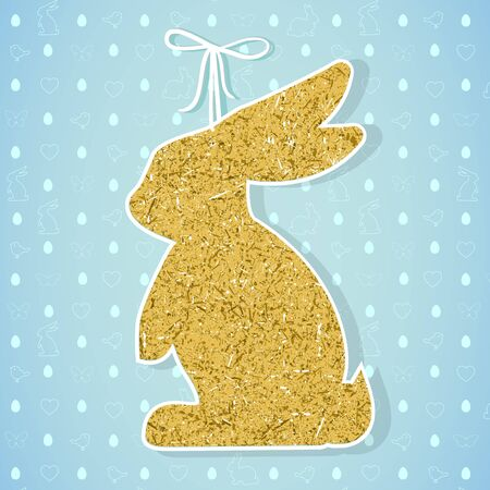 Easter paper decoration in the form of bunny. Easter golden bunn