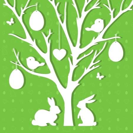 Easter paper decoration in form of Easter tree with eggs and rab