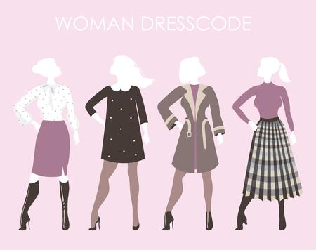 Young women in fashion clothing.Woman dresscode vector illustrat Illustration