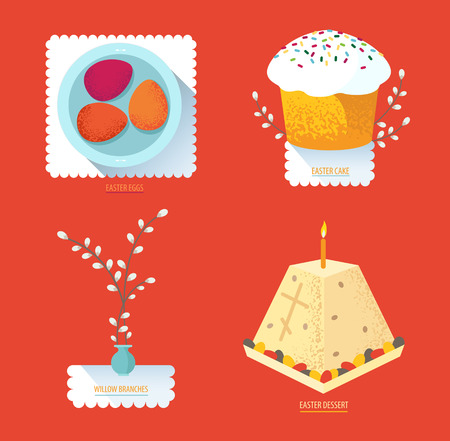 paskha: Set Russian Easter food. Food illustration with Easter cake, egg