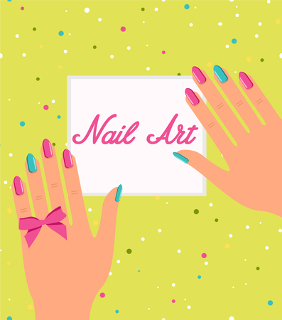Woman hand with colorful fingernails. Gift certificate for a nai