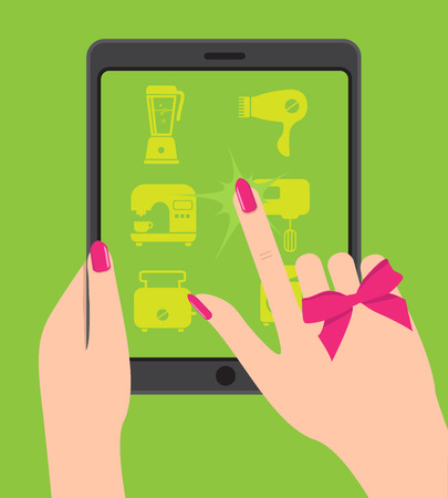 household goods: Hand holing smartphone, touching screen. Female hand holds table Illustration