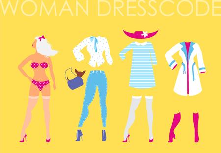 Women dress code romantic style illustration on yellow backgroun Illustration