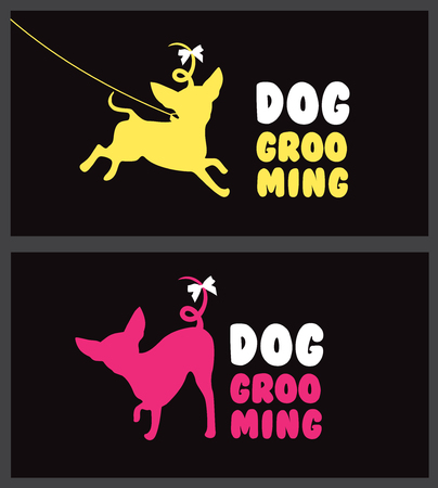 cat grooming: Logo for dog hair salon. Dog beauty salon. Pet grooming salon. Vector dog silhouette. Illustration