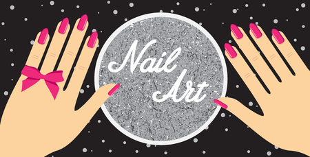 nail artWoman hand with red fingernails. Gift certificate for a nail salon.