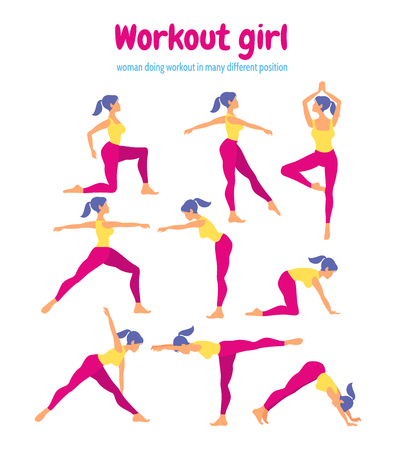 Body workout set. Woman doing fitness and yoga exercises.