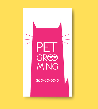 cat grooming: Pet grooming label with cat silhouette. Pet care services logo.