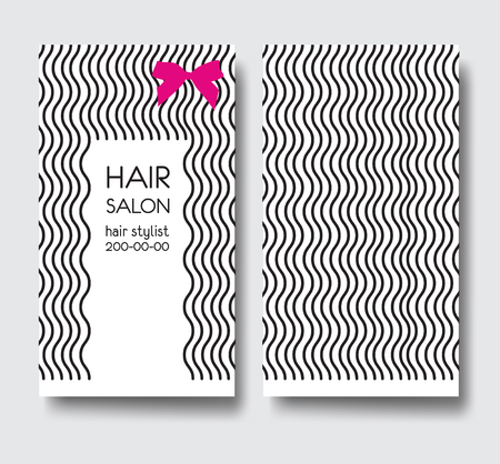 Business card template with long curly hair and bow. Stock Vector - 76498013
