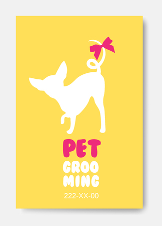 Poster template with dog silhouette. Pet grooming logo. Dog hair.