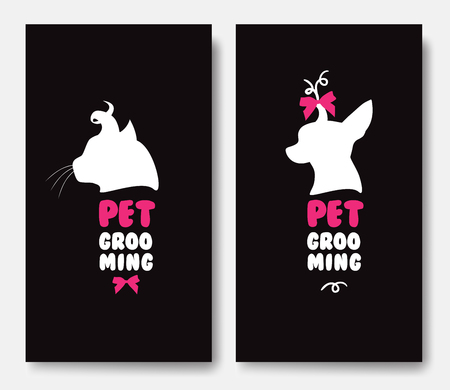 Business card template with silhouettes of cat and a dog.