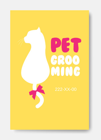 Poster with cat silhouette. Pet grooming logo. Animals hair salo