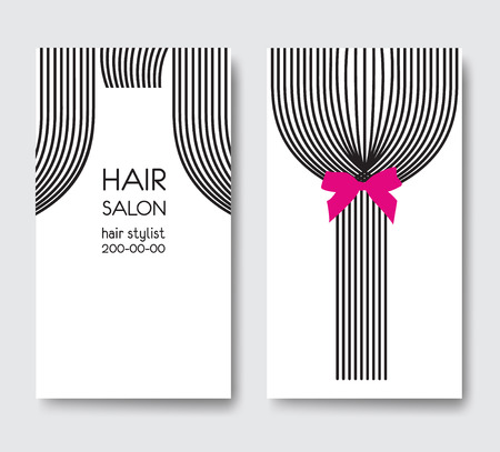 haircare: Template design business card with tail of  long straight hair. Illustration