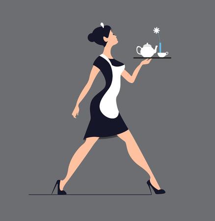 Kelnerka sylwetka na niebieskim tle. Smukła dziewczyna niosąca.