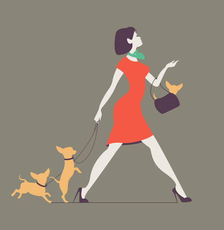 Vector silhouette of woman with dog. Young woman walking dogs. Fashionista with dogs.