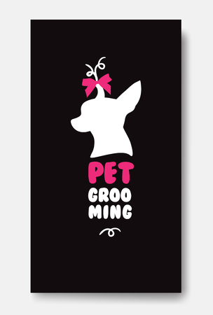 personal grooming: Business card template of pet grooming with little dog chihuahua
