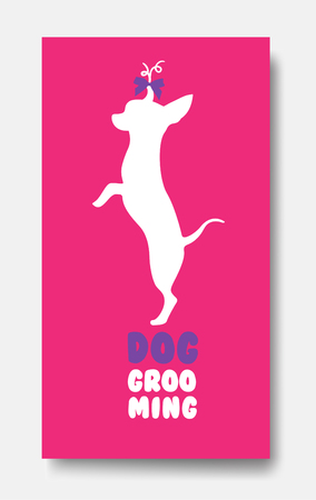 Business card template of pet grooming with little dog chihuahua