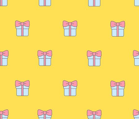 Seamless pattern with gift boxes on yellow background