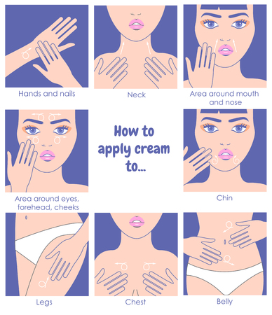 How to apply cream to the face, neck, hands, belly, legs. Design packaging. Instructions