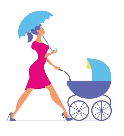 Nanny. Woman walking with a baby carriage. Vector silhouette Illustration