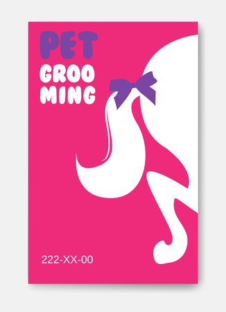 Poster template of grooming service pet with ponytail silhouette