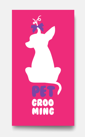 personal grooming: Business card template of pet grooming with little sitting dog c