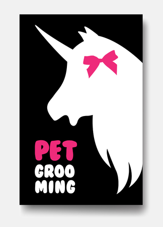Poster template of grooming service pet with white unicorn s hea 向量圖像