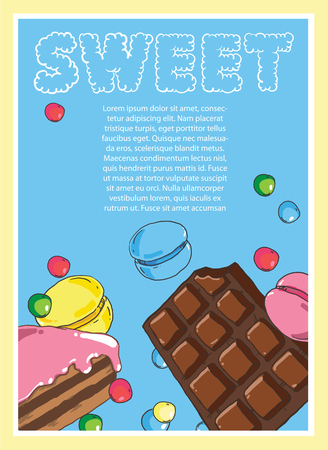 Flyer on the theme of food and sweets on blue background