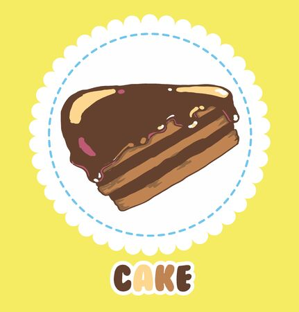 Piece of chocolate cake with icing. Cake Icon 向量圖像