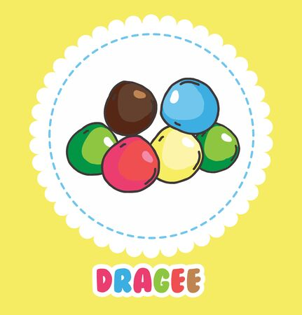 Colorful dragee on white background. Icon of sweets Illustration